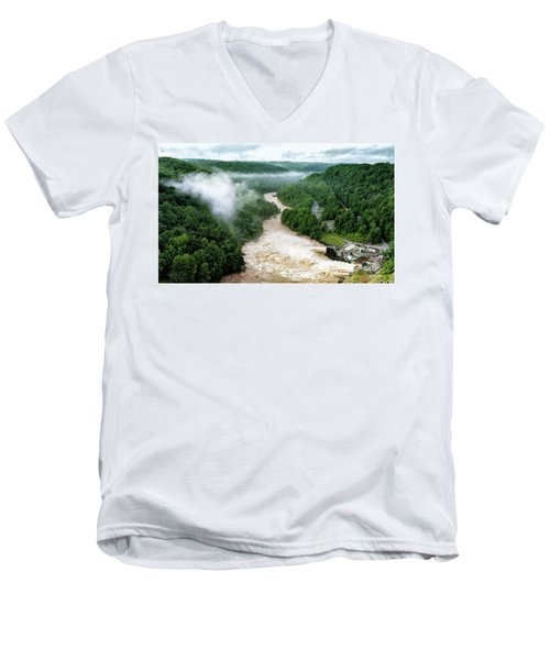 Men's V-Neck T-Shirt featuring the photograph Misty Morning At Summersville Lake Dam by Mark Allen