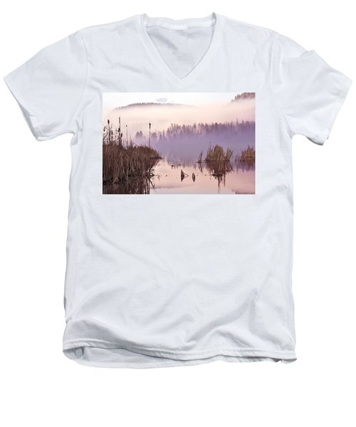 Misty Morning At Vaseux Lake Men's V-Neck T-Shirt by John Poon