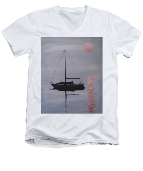 Misty Morning Mooring Men's V-Neck T-Shirt by Jack Skinner