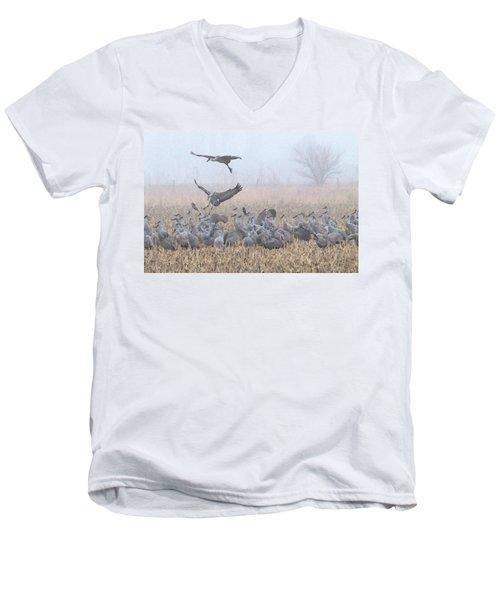Misty Morning Nebraska Landing Men's V-Neck T-Shirt
