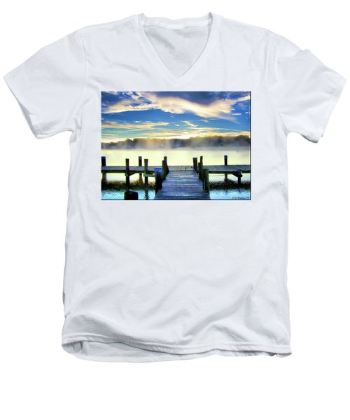 Men's V-Neck T-Shirt featuring the photograph Misty Morning On Rock Creek by Brian Wallace