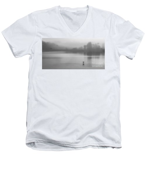 Misty Morning On The Lake Men's V-Neck T-Shirt by Linsey Williams