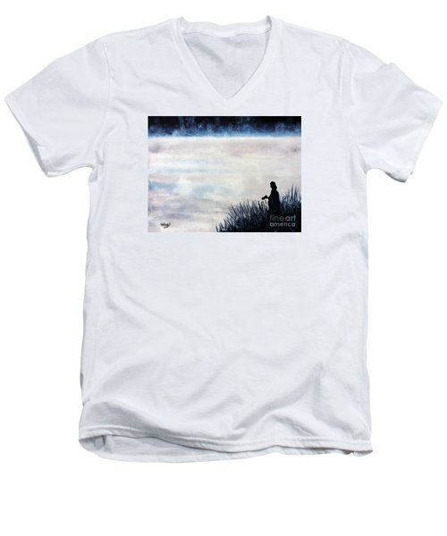 Men's V-Neck T-Shirt featuring the painting Misty Morning Photographer by Tom Riggs