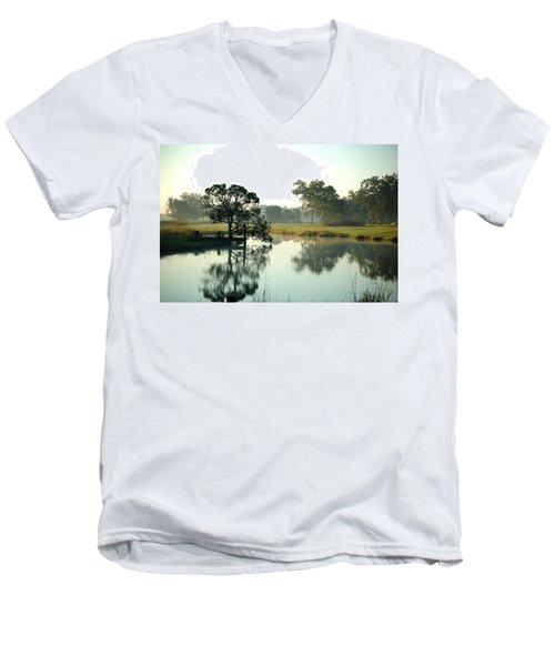 Misty Morning Pond Men's V-Neck T-Shirt