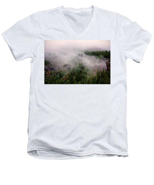 Misty Pines Men's V-Neck T-Shirt by Lana Trussell
