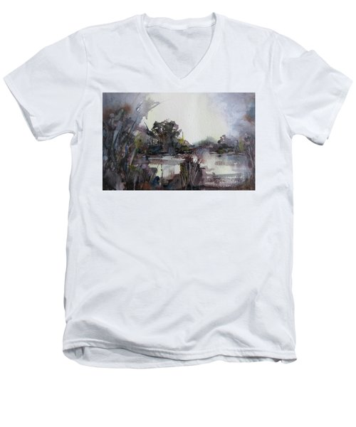 Misty Pond Men's V-Neck T-Shirt by Geni Gorani