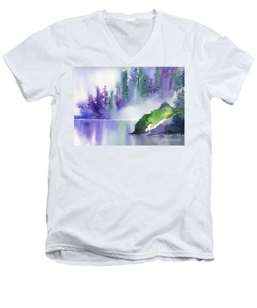 Men's V-Neck T-Shirt featuring the painting Misty Summer by Yolanda Koh