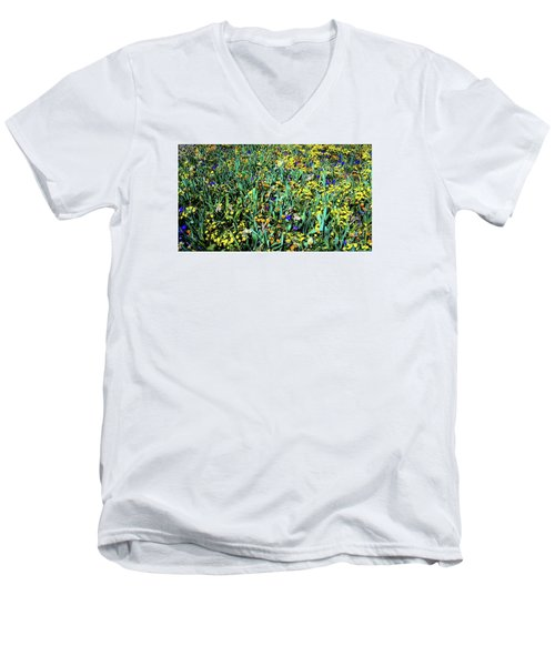 Mixed Wildflowers In Texas Men's V-Neck T-Shirt