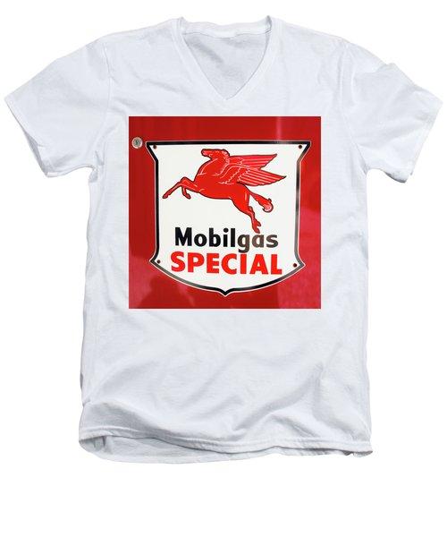 Mobilgas Vintage 82716 Men's V-Neck T-Shirt