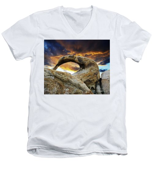 Men's V-Neck T-Shirt featuring the photograph Mobious Arch California 7 by Bob Christopher