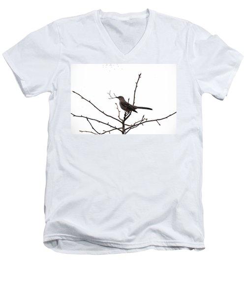 Mockingbird With Twig Men's V-Neck T-Shirt
