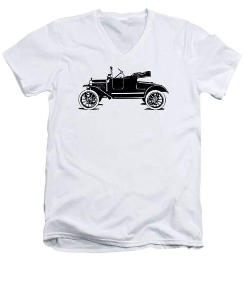 Model T Roadster Pop Art Black Men's V-Neck T-Shirt