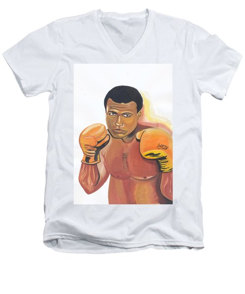 Men's V-Neck T-Shirt featuring the painting Mohammed Ali by Emmanuel Baliyanga
