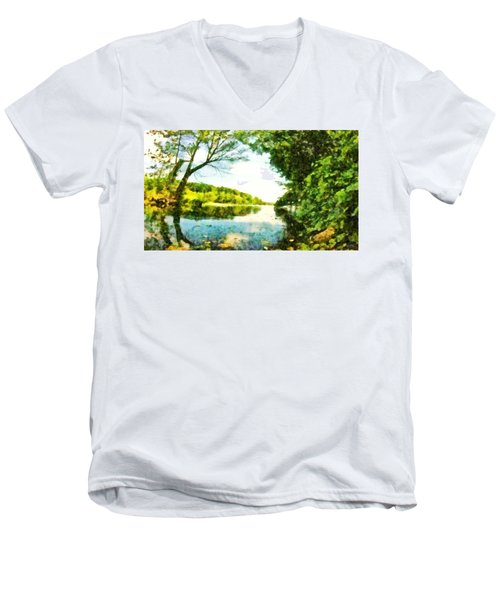 Men's V-Neck T-Shirt featuring the photograph Mohegan Lake By The Bridge by Derek Gedney