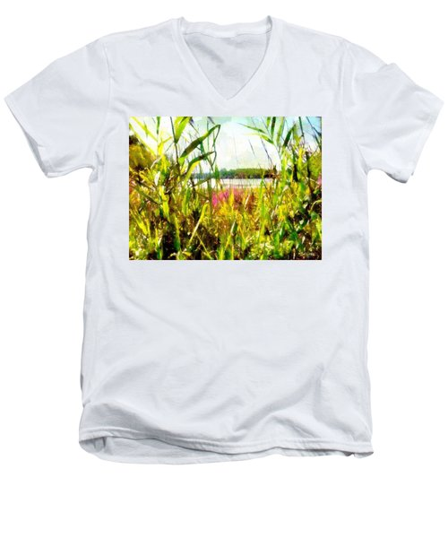 Men's V-Neck T-Shirt featuring the painting Mohegan Lake In The Brush by Derek Gedney