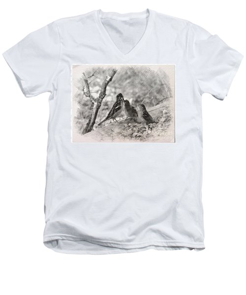 Men's V-Neck T-Shirt featuring the photograph Mom, I Am Hungry by Debby Pueschel