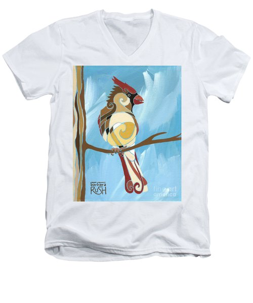Moms Day Off Female Cardinal Painting Men's V-Neck T-Shirt