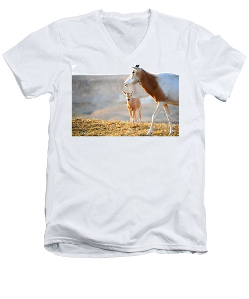 Men's V-Neck T-Shirt featuring the photograph Mom's Supervision by Arik Baltinester