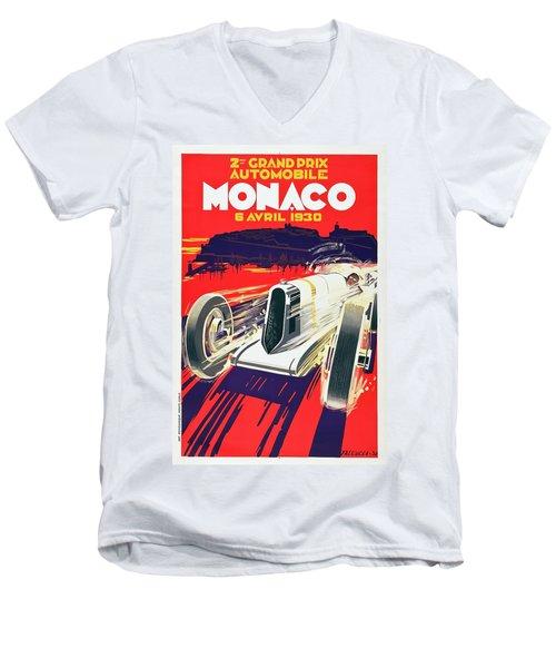 Men's V-Neck T-Shirt featuring the digital art Monaco Grand Prix 1930 by Taylan Apukovska