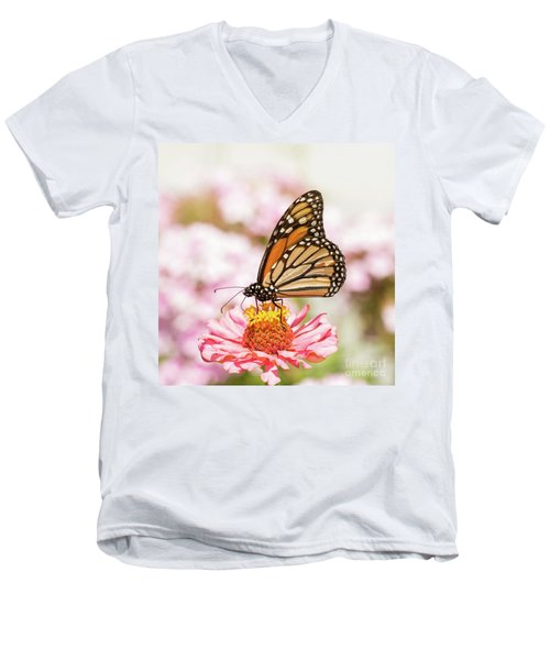 Monarch Butterfly On Pink Men's V-Neck T-Shirt