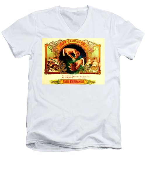 Money Cigar Label Men's V-Neck T-Shirt by Marianne Dow
