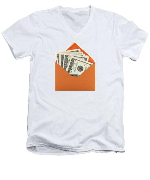 Money In An Orange Envelope Men's V-Neck T-Shirt