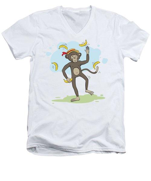 Monkey Juggling Bananas Men's V-Neck T-Shirt by Elena Chepel