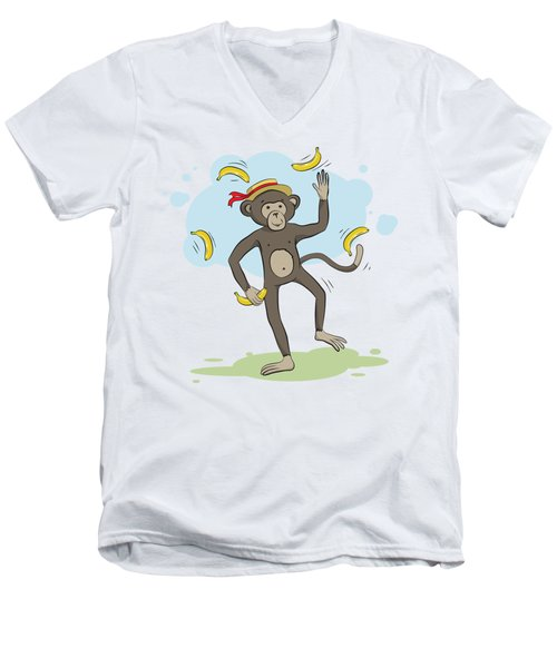 Monkey Juggling Bananas Men's V-Neck T-Shirt