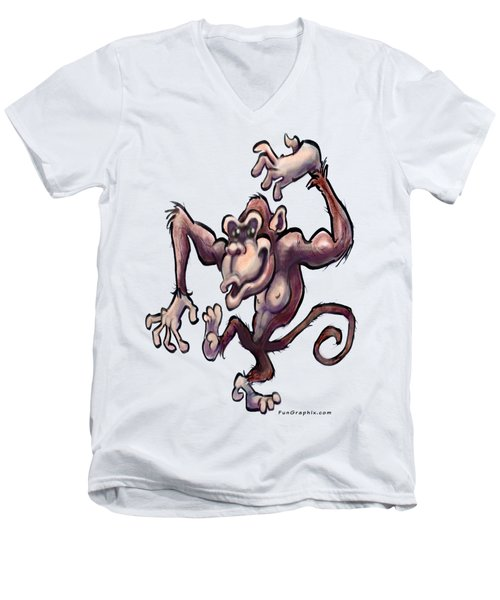 Monkey Men's V-Neck T-Shirt by Kevin Middleton