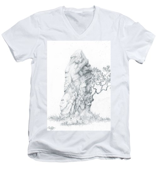 Men's V-Neck T-Shirt featuring the drawing Monolith 2 by Curtiss Shaffer