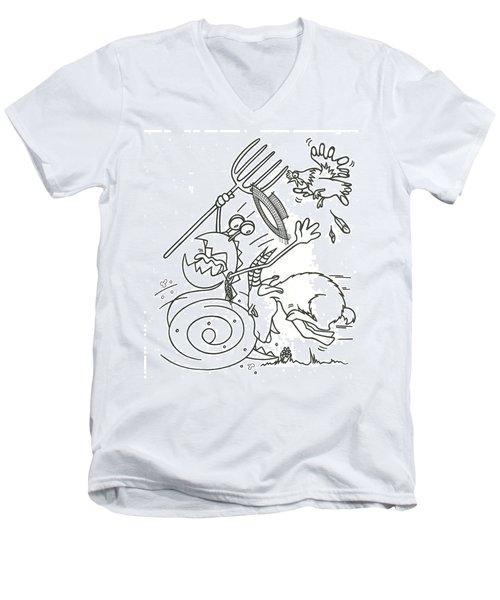 Monster Getting Chased Men's V-Neck T-Shirt