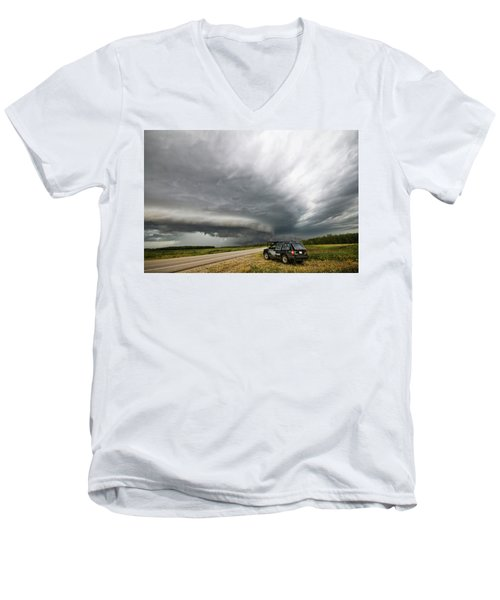 Monster Storm Near Yorkton Sk Men's V-Neck T-Shirt