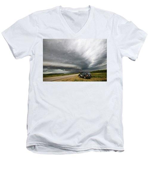 Monster Storm Near Yorkton Sk Men's V-Neck T-Shirt