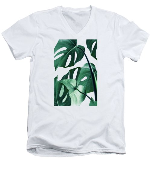 Monstera Men's V-Neck T-Shirt by Uma Gokhale