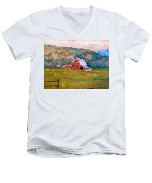 Montana Barn Men's V-Neck T-Shirt by Larry Hamilton