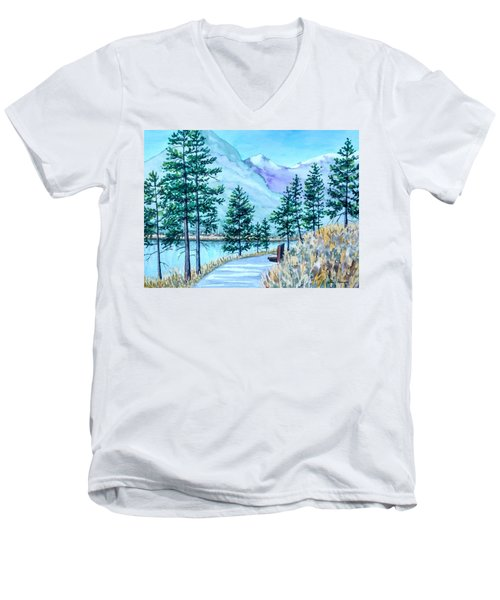 Montana Lake Como With Bench Men's V-Neck T-Shirt