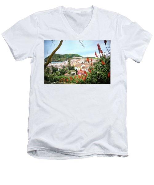 Monte Brasil And Angra Do Heroismo, Terceira Men's V-Neck T-Shirt by Kelly Hazel