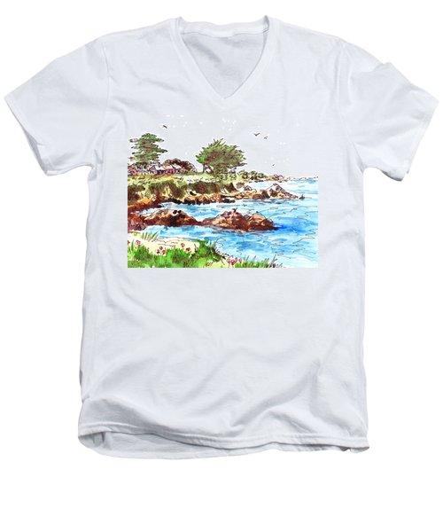 Monterey Shore Men's V-Neck T-Shirt by Irina Sztukowski