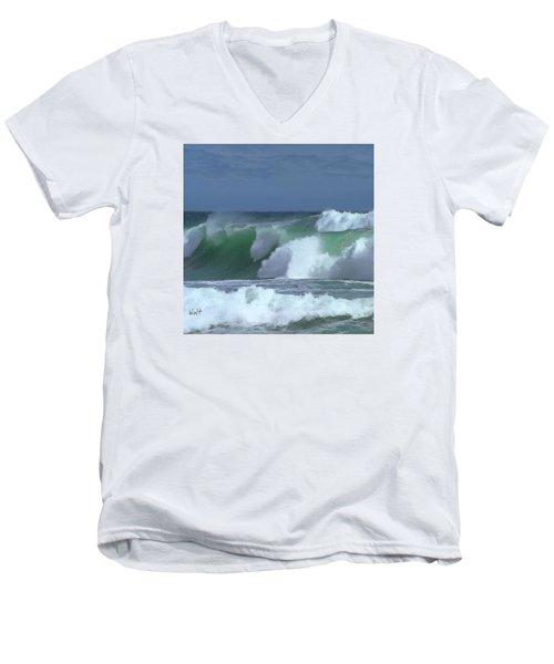 Men's V-Neck T-Shirt featuring the digital art Monterey Surf by Walter Chamberlain