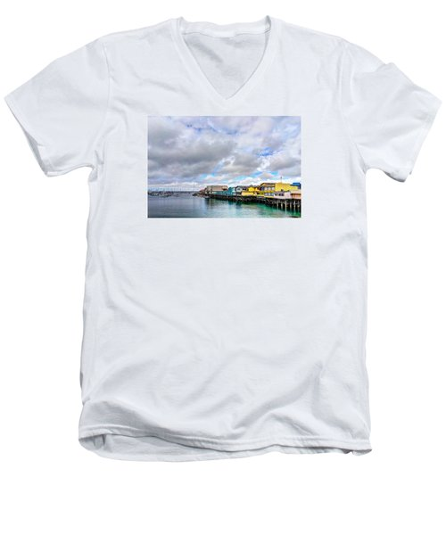 Monterey Wharf  Men's V-Neck T-Shirt by Derek Dean