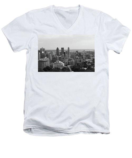 Montreal Cityscape Bw Men's V-Neck T-Shirt