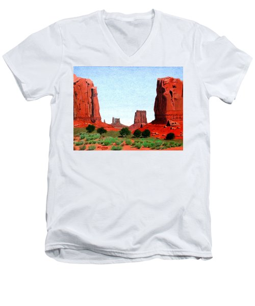Monument Valley North Window Men's V-Neck T-Shirt by Mike Robles