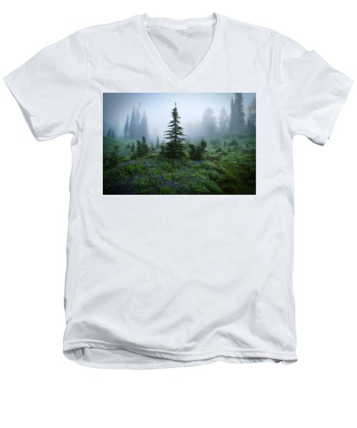 Moody Myrtle Falls Trail At Mount Rainier Men's V-Neck T-Shirt