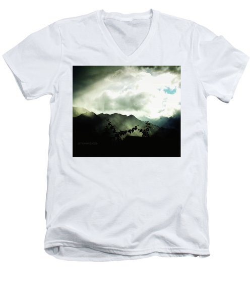 Men's V-Neck T-Shirt featuring the photograph Moody Weather by Mimulux patricia no No