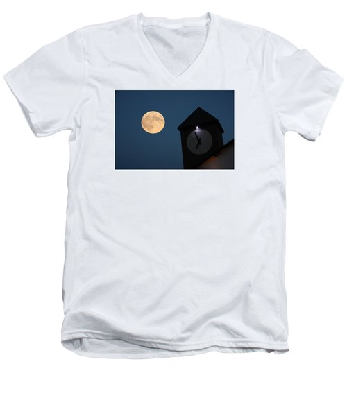 Moon And Clock Tower Men's V-Neck T-Shirt