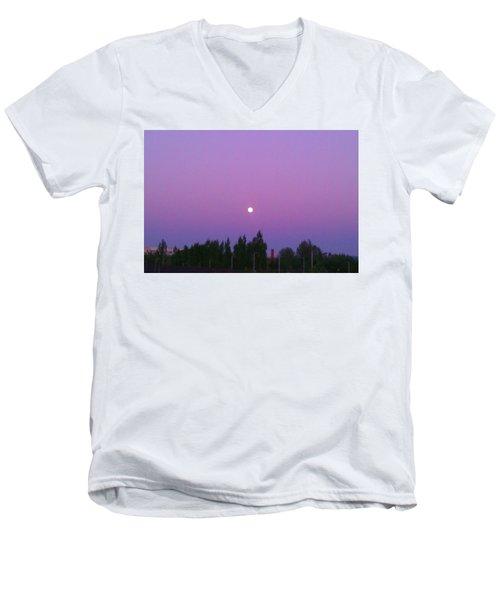 Moon On Perfect Purple Men's V-Neck T-Shirt