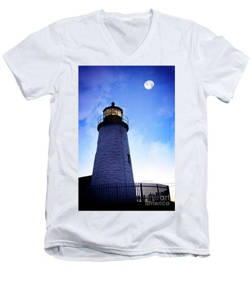 Moon Over Lighthouse Men's V-Neck T-Shirt