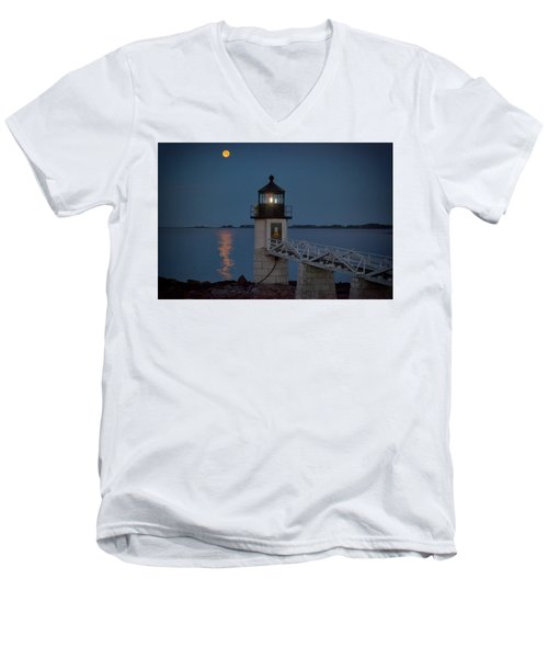 Men's V-Neck T-Shirt featuring the photograph Moon Over Marshall Point by Rick Berk