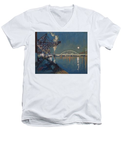 Moon Over The Railway Bridge Maastricht Men's V-Neck T-Shirt