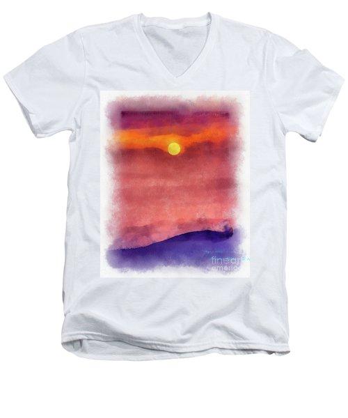 Moon Rise In Aquarelle Men's V-Neck T-Shirt